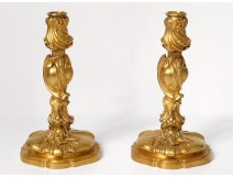 Pair candlesticks gilt bronze mascaron woman Fernand Fish Art Nouveau twentieth