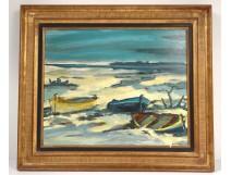 HST marine painting Maurice Bilbeaud landscape barques Provence Nice Sète XXè