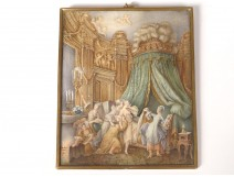 Miniature painted from ap. Baudouin Sunset Bride bronze frame nineteenth