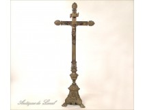 Silvered bronze crucifix Christ, nineteenth
