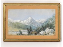 Small watercolor landscape snowy mountains forest forest fir 1904 twentieth