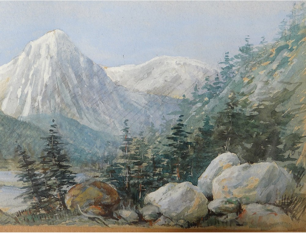 small watercolor landscape snowy mountains forest forest fir 1904 twentieth small watercolor landscape snowy
