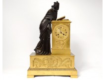 Bronze clock antique woman Reading palmettes Restoration nineteenth clock