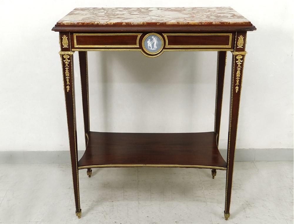 small coffee table louis xvi mahogany marble gilt bronze wedgwood nineteenth. Black Bedroom Furniture Sets. Home Design Ideas