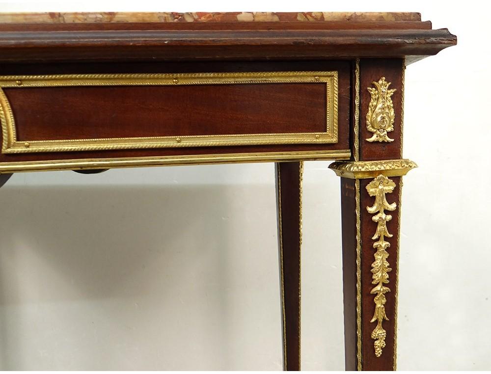 Small Coffee Table Louis Xvi Mahogany Marble Gilt Bronze