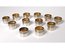12 sterling silver glass holders Minerva goldsmith Deutsch silver 224gr XXth