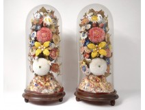 Pair large bridal bouquets shells flowers mother-of-pearl globe 19th century
