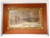 Great HST painting Abel Hervé snowy landscape Nantes Prairie au Duc nineteenth