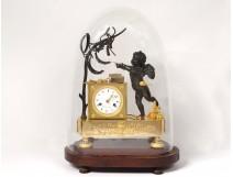 Pendulum bronze cherub Love mucisian zither globe I Empire clock nineteenth