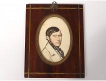 Miniature watercolor drawing portrait man elegant tie brass nineteenth