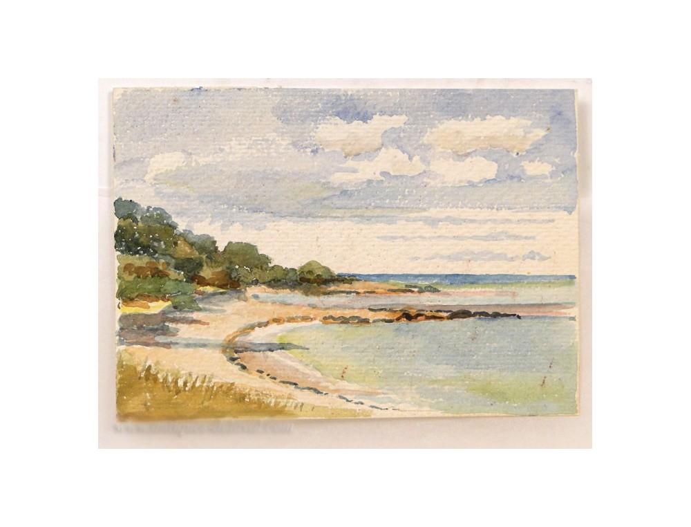 Aquarelle Bretagne aquarelle paysage bord de mer morbihan bretagne xxe