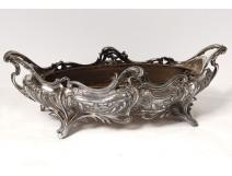 Oval planter bronze silver Victor Saglier shells Art Nouveau XIXth
