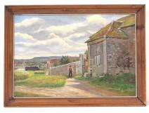 HST painting landscape church Chailly Brière Fontainebleau Doumenq painting twentieth