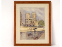 Watercolor view Notre-Dame cathedral of Paris Seine island city nineteenth twentieth