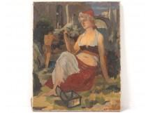 HST painting portrait woman landscape mediterranean South France Vergnot twentieth