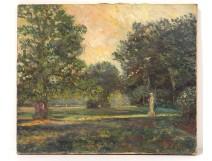 HST table landscape park garden trees statue signed painting nineteenth twentieth