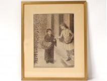 Drawing charcoal pointillist H. Chanet impressionist women merchant nineteenth