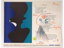 Poster litho André Verdet poem Nadine drawing pastel dedication Van Leyden