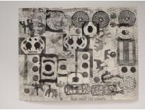 Africanist lithograph geometric patterns Maison Charbonnel Paris XXth