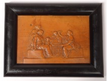 Plate bas-relief carved boxwood antique women cherubs young child nineteenth