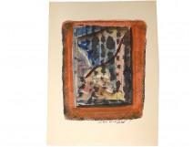 JP gouache. Van Lith composition window dedication Ernst Van Leyden 1969