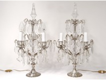 Pair of candelabra 4 lights with tassels crystal cut bronze silver nineteenth