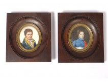 Pair portraits portraits notable couple woman Directory Empire 18th 19th