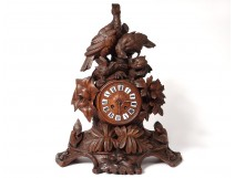 Large clock carved wood Black Forest birds partridge clock nineteenth century