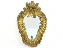 Large carved wood mirror gold mirror shell head cherubs seventeenth putti