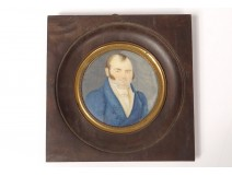 Miniature painted portrait man elegant frock coat painting nineteenth century