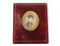 Miniature painted portrait young woman ribbons Joseph Gaye Restoration Nineteenth