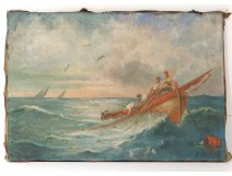 HST marine painting characters fishermen nets barque Honnoré North nineteenth