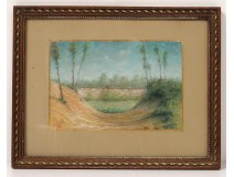 Drawing pastel landscape countryside border forest trees monogrammed 1911 twentieth