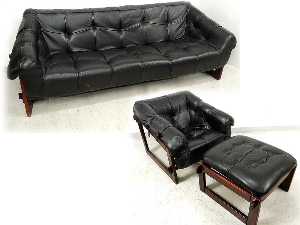 Canapé sofa fauteuil Lounge ottoman Percival Lafer MP-091 cuir ...