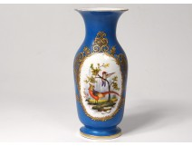 Small porcelain vase Paris bird pheasant gilded flowers Napoleon III nineteenth
