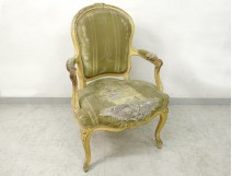 Louis XV cabriolet armchair lacquered carved wood stamped Courtois XVIII