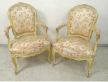 Pair Louis XV cabriolet armchairs carved wood Stamp Courtois XVIII