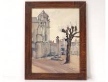 Watercolor Andrée Michel church Sainte-Radegonde Poitiers Calvary twentieth
