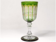 Water glass foot cut crystal color St. Louis gilding nineteenth century