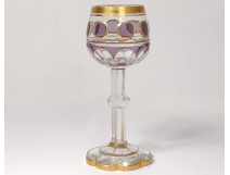 Cut crystal glass faceted amethyst gilding late nineteenth century
