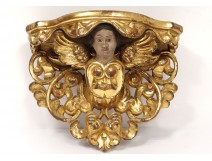 Console wall carved wood gilded angel head foliage nineteenth century