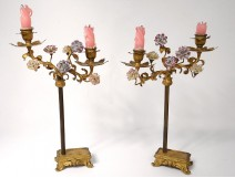 Pair candlesticks 2 lights gilt bronze flowers porcelain Napoleon III nineteenth