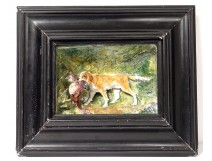 Ceramic table porcelain bas-relief dog hunting pheasant forest nineteenth
