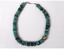 Necklace gem turquoises rough silver massive vintage twentieth century