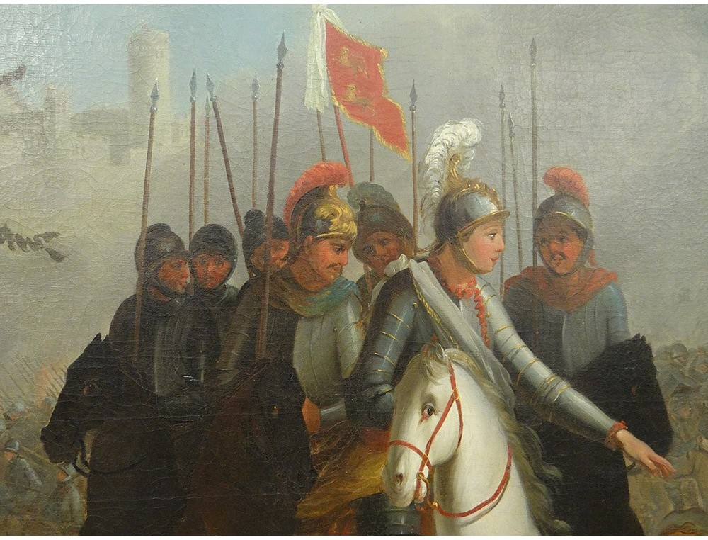 Grande Hst Tableau Historique Roi Guerre Cent Ans Normandie Soldats Xviiie