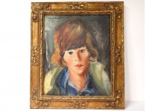 HST painting portrait young woman Belgian school signed 1929 painting twentieth