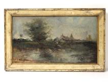 HSP Impressionist Landscape Landscape Village Pond Signed Nineteenth