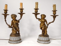 Pair of candelabra 2 fires bronze marble children fauns satyres Clodion nineteenth