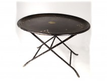 Small side table oval wood tray blackened pearl Napoleon III nineteenth