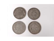Lot 4 pieces silver 5frcs 1876-77 Napoleon III 1867 5 Lire Italy 1879 19th